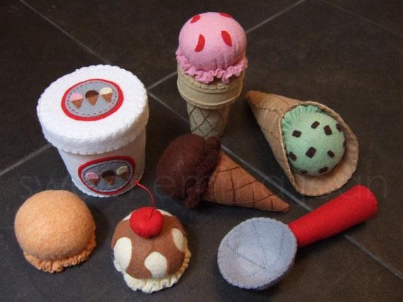 Felt play food pattern ice cream set pdf diy felt food ccuart Image collections