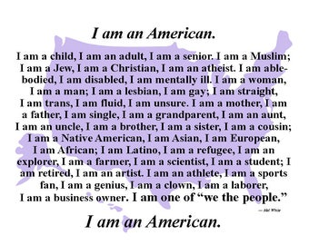 digital download postcards -- I am an American, make your own postcards