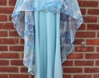 Vintage Dress Formal Baby Blue Floral Cape