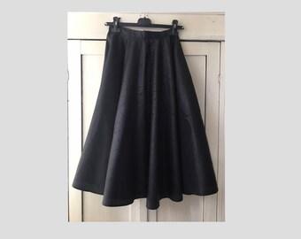 36/ Art deco print/ Black Full circle mid length skirt/ graphic/ rock