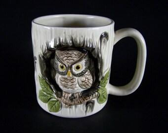 Vintage Otagiri Pottery Mug - Handpainted 3D Owl Mug – OMC Owl Cup – 1980s Japan