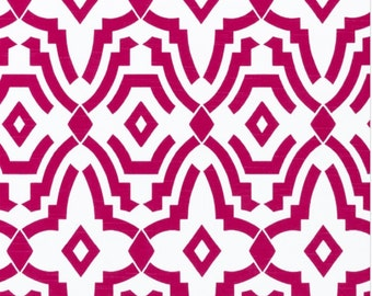 Chevelle Deep Pink and White  Cotton Fabric for Premier Prints - 1 yard