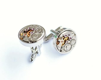 Round Cufflinks, Steampunk, Swiss, Cufflinks, Best Man jewellery, Clockwork cufflinks, Best Man Gift, Gift for men, Rare Cufflinks, Gifts