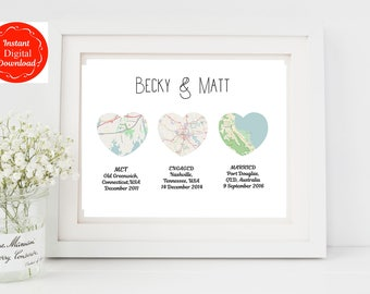Digital customised heart map print, Map heart art, Downloadable Personalised wedding gift with map, download map wedding gift, png, jpg, pdf