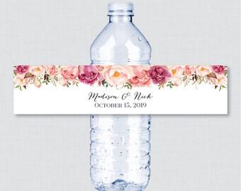 Printable OR Printed Wedding Water Bottle Labels - Rustic Pink Flower Custom Water Bottle Labels - Personalized Water Bottle Labels 0004