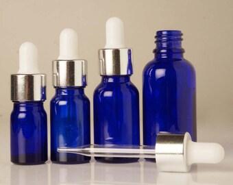 Medicine Bottle, Dropper Bottle, Lot Of 12 Wholesale Bottles, Blue Glass Bottle, Empty Bottle, Glass Vial, Essential Oil Bottle, BOT4-PAR-12