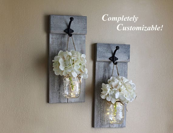 Mason jar wall sconce set mason jar decor wall sconces aloadofball Image collections