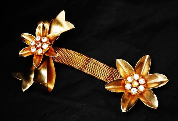 Gold Flower Dangle Brooch - Gold Mesh - AB Rhinestone - Ribbon -Mid Century floral Pin