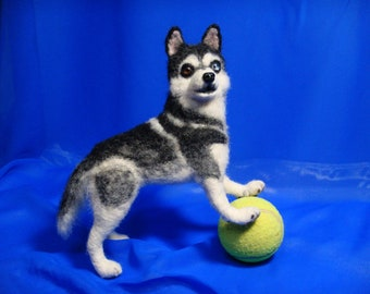 Husky felted dog / Portrait dog / Dog copy / Dog miniature / 3d dog / Needle felted dog / Puppy / Sculpture dog / Husky copy / interior toy
