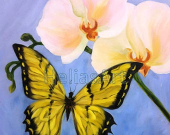 Orchids Butterfly Original Oil Painting