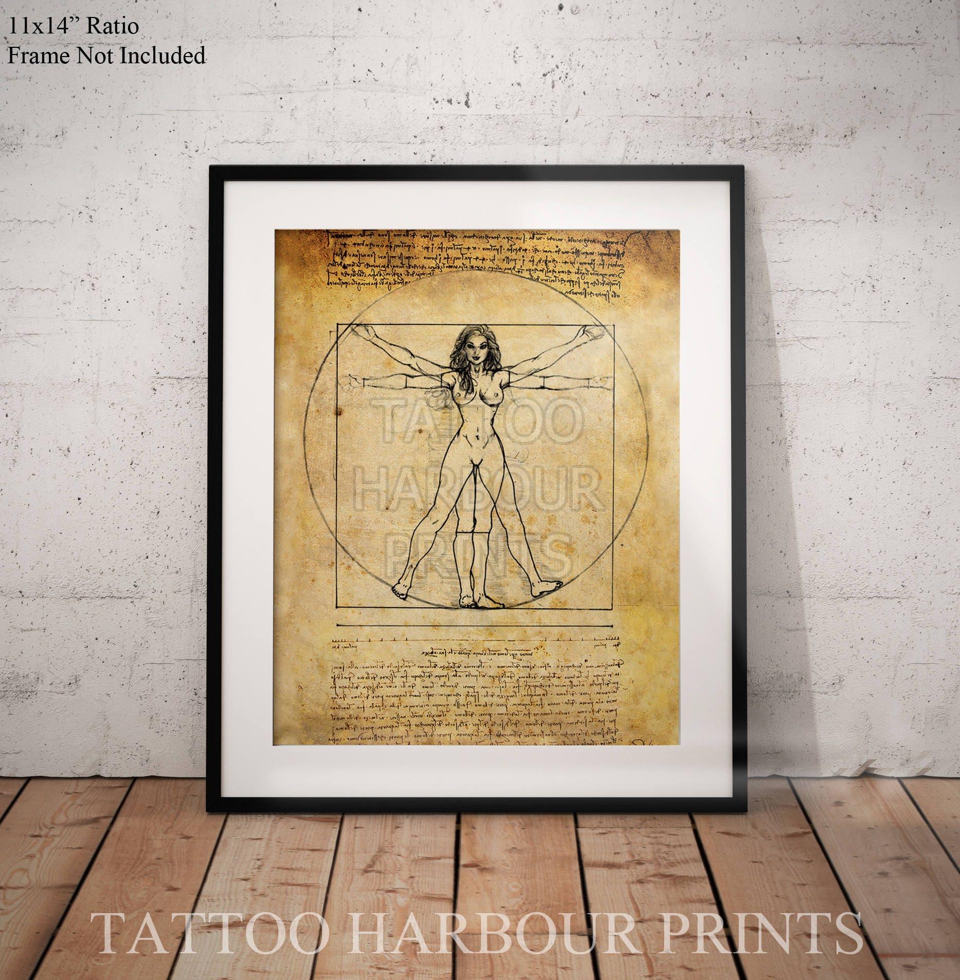 Vitruvian Woman Leonardo Da Vinci mock poster print