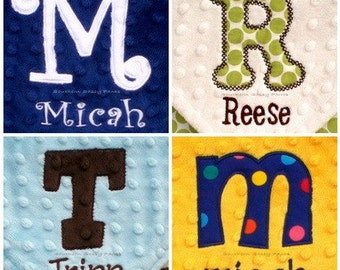 Personalized Baby Blanket with Applique Initial , Minky Baby Blanket - Design Your Own with Applique Initial and Embroidered Name