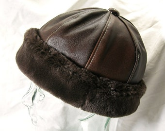 PRICE RECUCED!/  Leather Beanie in Brown with Faux Fur Brim, Mens Style