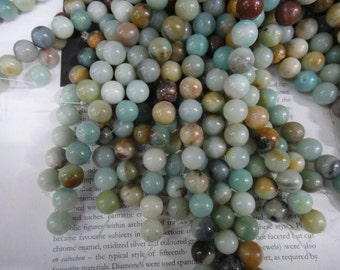 12mm natural amazonite round beads, 15.5 inch