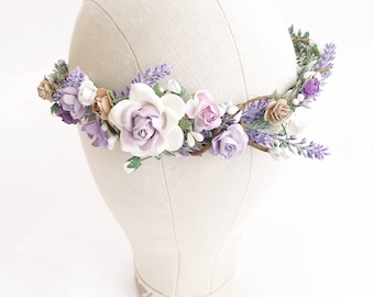 Lavender crown, Floral crown, White Flower crown, Bridal Floral crown, Lilac Bridal flower crown, wedding flower crown, Woodland wedding,