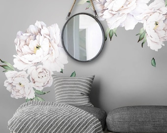Peony Flowers Wall Sticker, White Watercolor Peony Wall Stickers - Peel and Stick Removable Stickers