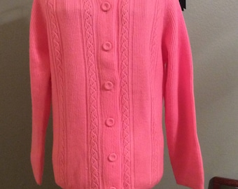 Vintage Pink Acrylic Knit Sweater