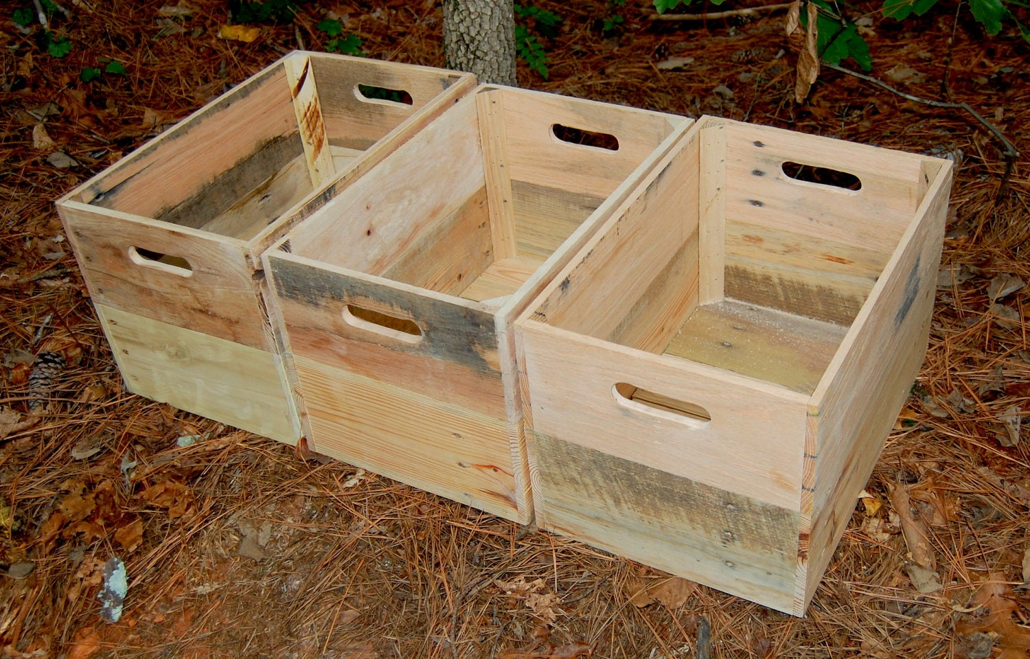 Three Wood Crates/ Recycled Pallet/ Wooden Crate/ Unfinished/