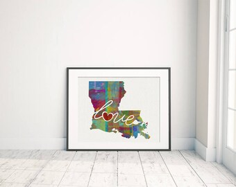 Louisiana Love - LA - A Colorful Watercolor Style Wall Art Hanging & State Map Artwork Print - College, Moving, Engagement and Shower Gift