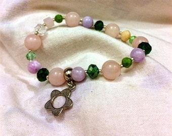 Rose quartz dangle charm bracelet