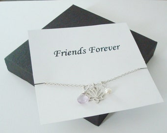 Lotus Charm with White Pearl & Pink Amethyst Silver Necklace ~~Personalized Jewelry Gift Card for Friend, Best Friend, Sister, Bridal Party