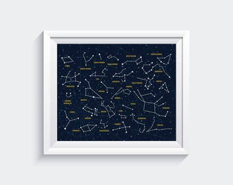 Constellations, Star Chart Print, Constellations Map, Constellation Poster, Star Chart, Constellations Print, Astronomy Poster, Bedroom Art