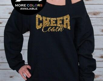 Cheer Coach Off Shoulder Raw Edge Sweatshirt for Women GLITTER // Coach Sweatshirt, Cheer Shirt, Cheerleader, Plus Sizes (Gold Glitter)