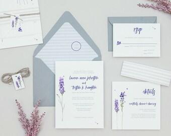 Rustic Lavender Wedding Invitations,Modern Floral Wedding Invites,Ultra Violet Wedding Invitation, Boho Wedding Invitation Set, Pantone 2018