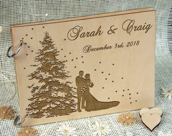 WINTER WEDDING Personalized Guest Book, Wedding-Anniversary-Bridal Shower Memory Book, Wedding Keepsake, Great Gift, Laser Engraved Wood.