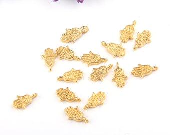 Tiny Hamsa Hand Charms, Mini Hamsa Charms, Gold Plated, 15 pieces // GCh-234