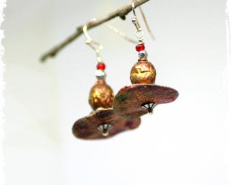 Small Rustic Tribal Earrings Faux Artifact Boho Chic Red Polymer Clay Earrings African Urban Tribal Ethnic Gift for Her