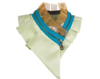 Collar necklace, unique accessory, zipper collar, silk collar, only one piece #187