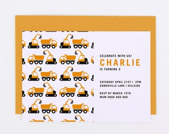 Construction party printable invite, Construction birthday invitation, boys birthday invite, boys party invite, boys first birthday