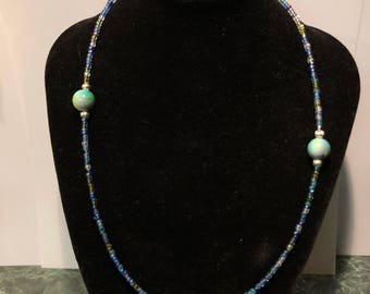Blue Marble Bead Mid-Length Necklace