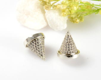 Cubic Zirconia Cone Pendant, 10mm CZ Spike Pendant, Clear CZ Spike Charm, Tarnish Resistant Silver Plating Cubic Zirconia Pendants