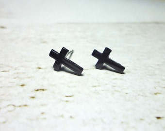 Black Cross Stud Earrings, Cross Earrings