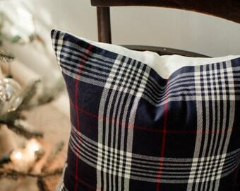 Plaid Throw Pillow - Plaid Pillow Cover / Decorative Pillows / Winter Decor / Farmhouse Pillow / Housewarming Gift / Navy Pillow Throw