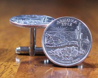 Arizona Cuff Links, Mens coin accessories, novelty cufflinks, Arizona state cufflinks, Arizona gift, Arizona present