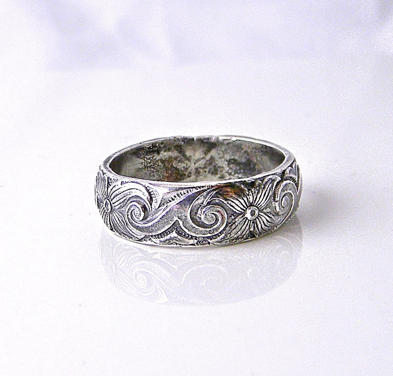 Sterling Silver Pattern Wire 4-petals 5mm Wedding Band Promise Ring ...