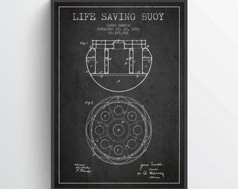 1888 Life saving buoy Patent, Nautical Poster, Nautical Print, Patent Art Print, Patent Print, Home Decor, Gift Idea, NA19P