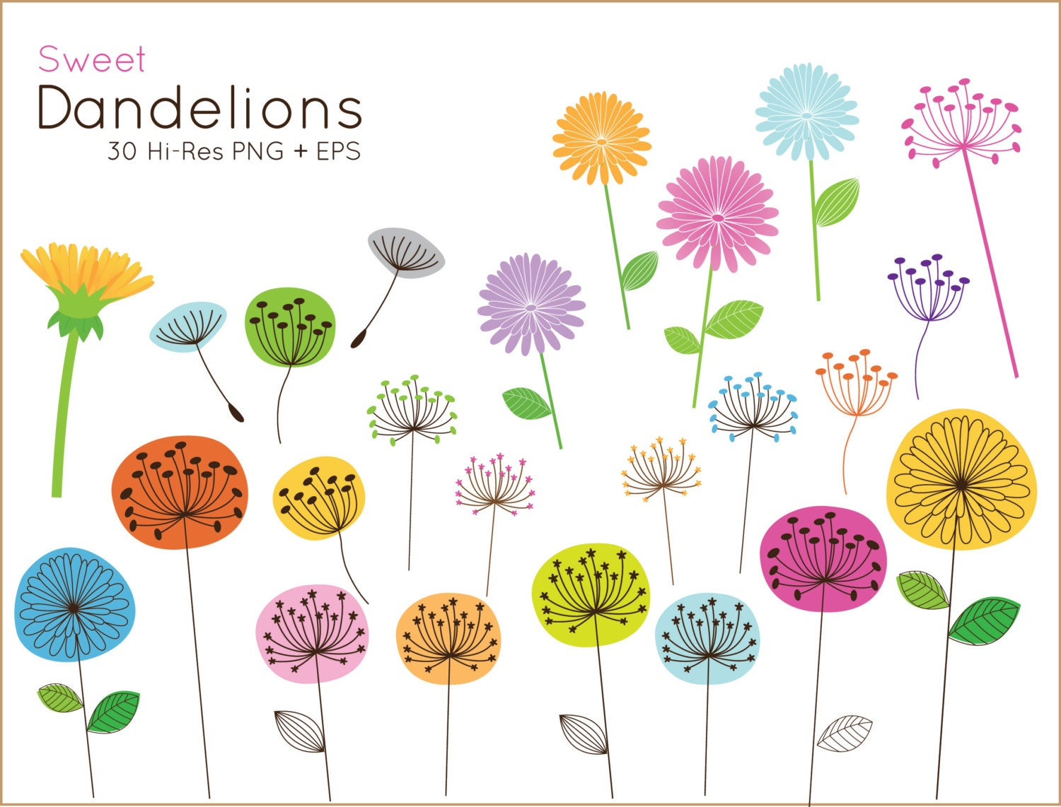 buy 2 get 1 free sweet dandelion clip art for personal and rh etsy com free commercial use christmas clipart free commercial use clipart public domain