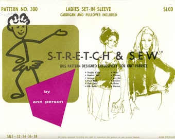 1960's Vintage Sewing Pattern Stretch & Sew 300 Ladies' Cardigan Pullover Sizes 32-38