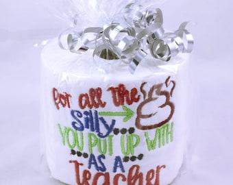 Embroidered novelty toilet paper roll, novelty gift, teacher gift, end of term present, teacher present, embroidered loo roll gift present