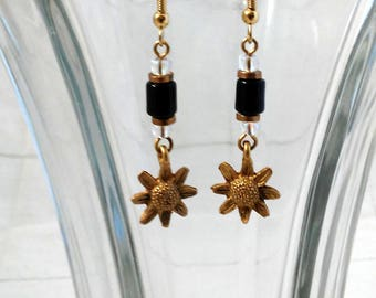 Vintage Drop or Dangle Earrings - Sunflower and Beads