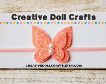 Doll Headband, Pink Doll Headband, Doll Accessory, 18 Inch Doll, Butterfly Headband, AG Doll Headband, Doll Hair Accessory, AG Doll