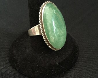 Vintage Reviri Taxco silver and green signed chunky green stone statement shabby sheik boho sterling mexico eagle 2 large signed stamped