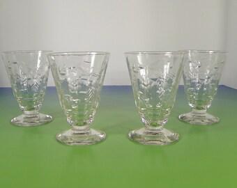 Rock Sharpe Roselle Juice Goblet (s) LOT OF 4 Stem #2006 Optic Floral Cut 1930s Crystal