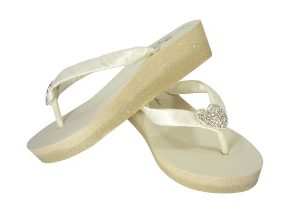 low Silver colors Ivory Bridal Flops champagne or heel gold Sparkle Wedge Glitter Pewter choose Ombre Gray White Bling or Flip on high xHBSC8