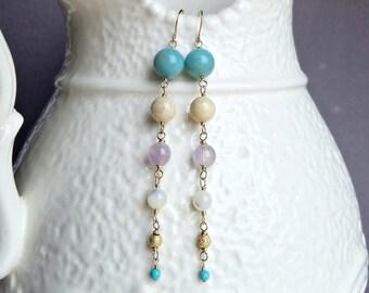Lavender Aqua Dangle Earrings, Tapered Gemstone Earrings, Long Pink Amethyst Dangle