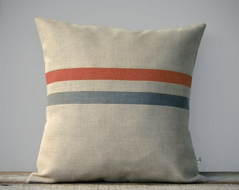 Sienna and Stone Gray Striped Linen Pillow Cover - Fall Home Decor by JillianReneDecor - Autumn - Brick Red - FW2015